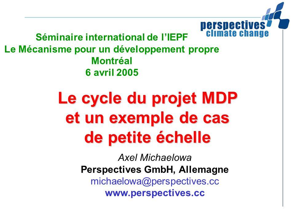 Le cycle du projet MDP et un exemple de cas de petite échelle Séminaire international de lIEPF Le Mécanisme pour un développement propre Montréal 6 av