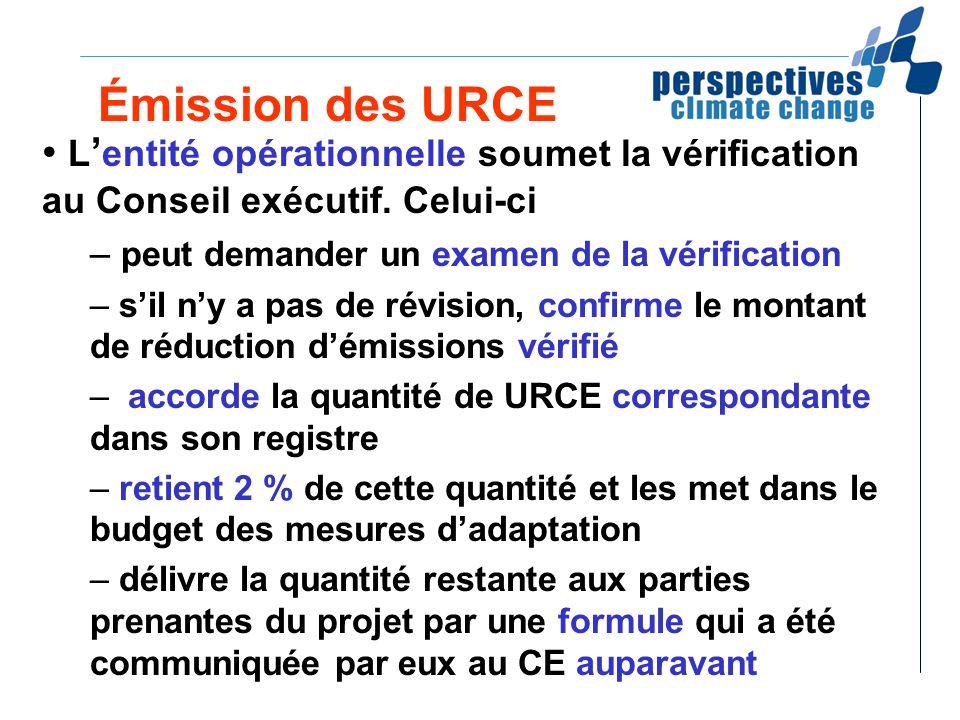 Émission des URCE L entité opérationnelle soumet la vérification au Conseil exécutif. Celui-ci – peut demander un examen de la vérification – sil ny a