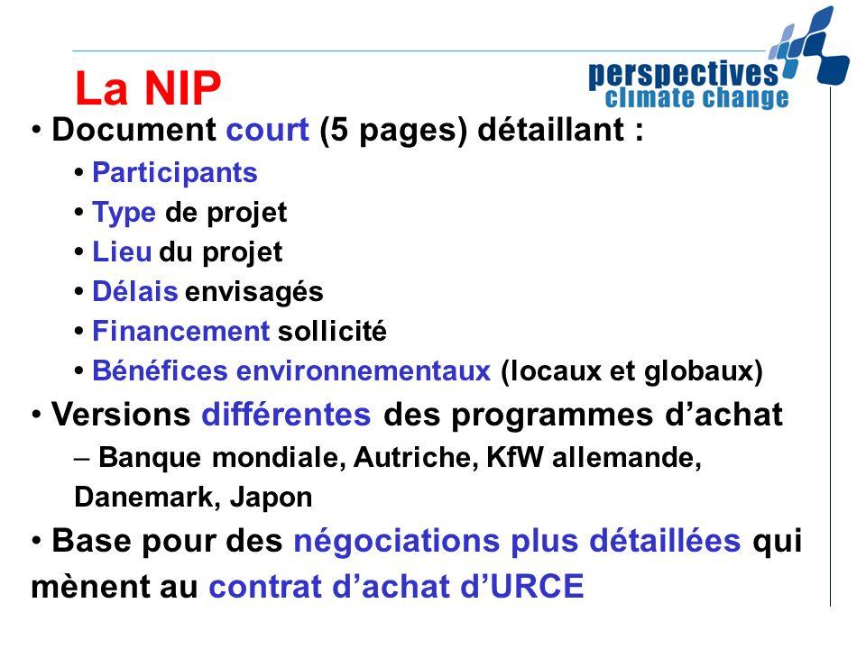 La NIP Document court (5 pages) détaillant : Participants Type de projet Lieu du projet Délais envisagés Financement sollicité Bénéfices environnement