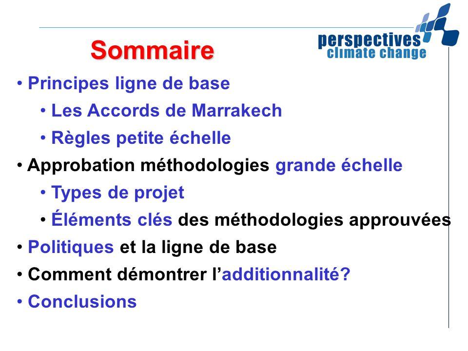 Sommaire Principes ligne de base Les Accords de Marrakech Règles petite échelle Approbation méthodologies grande échelle Types de projet Éléments clés