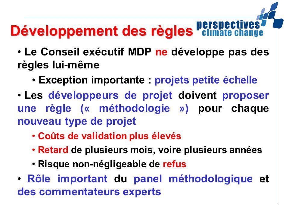 Développement des règles Le Conseil exécutif MDP ne développe pas des règles lui-même Exception importante : projets petite échelle Les développeurs d