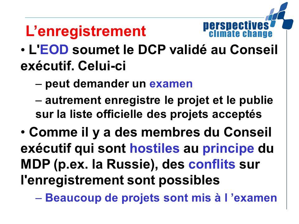 Lenregistrement L'EOD soumet le DCP validé au Conseil exécutif. Celui-ci – peut demander un examen – autrement enregistre le projet et le publie sur l