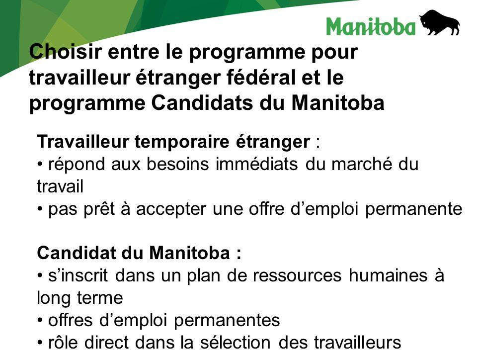Choisir entre le programme pour travailleur étranger fédéral et le programme Candidats du Manitoba Travailleur temporaire étranger : répond aux besoins immédiats du marché du travail pas prêt à accepter une offre demploi permanente Candidat du Manitoba : sinscrit dans un plan de ressources humaines à long terme offres demploi permanentes rôle direct dans la sélection des travailleurs