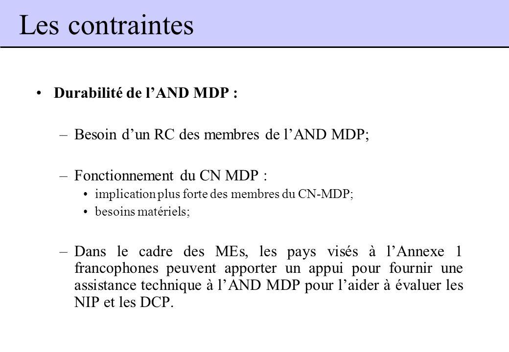 Durabilité de lAND MDP : –Besoin dun RC des membres de lAND MDP; –Fonctionnement du CN MDP : implication plus forte des membres du CN-MDP; besoins mat