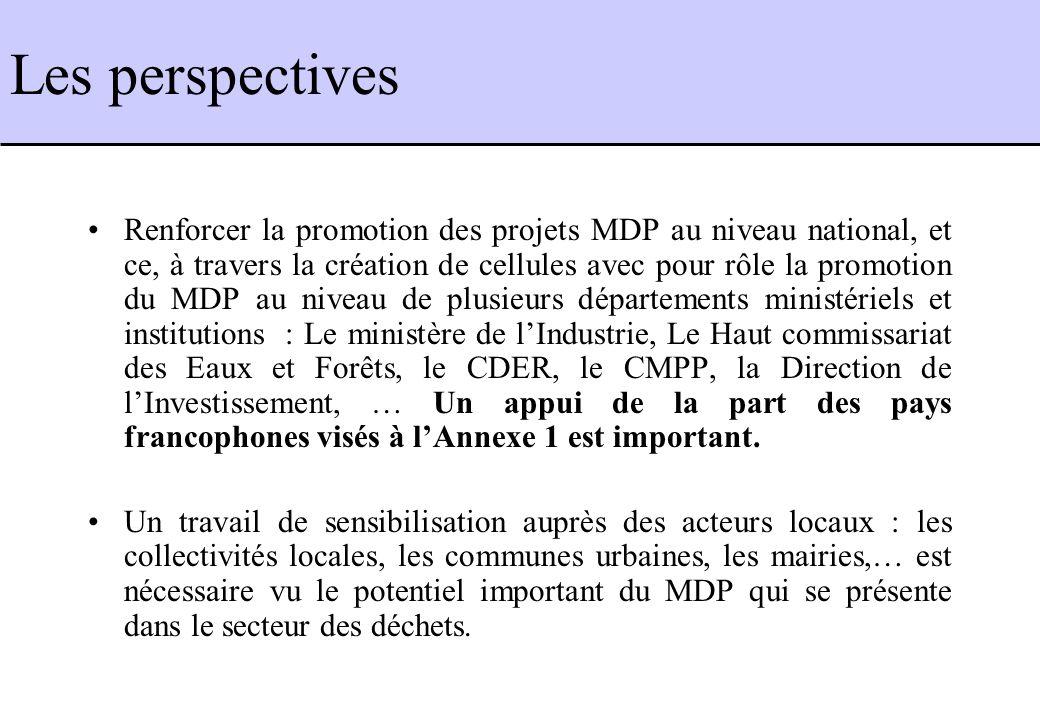 Renforcer la promotion des projets MDP au niveau national, et ce, à travers la création de cellules avec pour rôle la promotion du MDP au niveau de pl