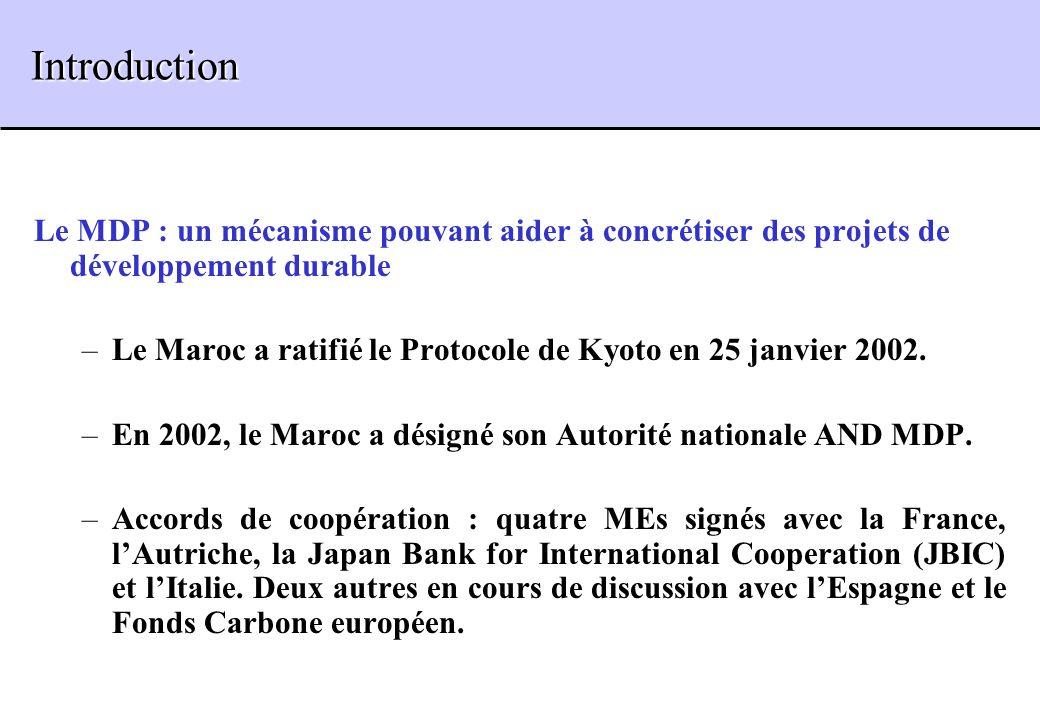 Introduction Introduction Le MDP : un mécanisme pouvant aider à concrétiser des projets de développement durable –Le Maroc a ratifié le Protocole de K
