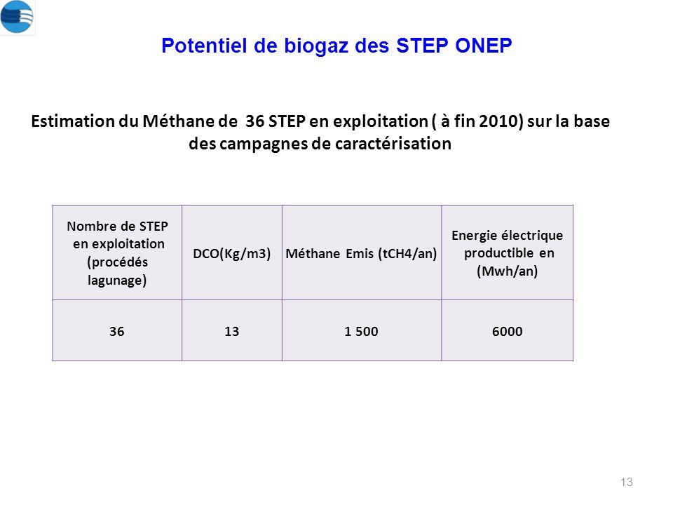13 Potentiel de biogaz des STEP ONEP Estimation du Méthane de 36 STEP en exploitation ( à fin 2010) sur la base des campagnes de caractérisation Nombre de STEP en exploitation (procédés lagunage) DCO(Kg/m3)Méthane Emis (tCH4/an) Energie électrique productible en (Mwh/an) 36131 5006000
