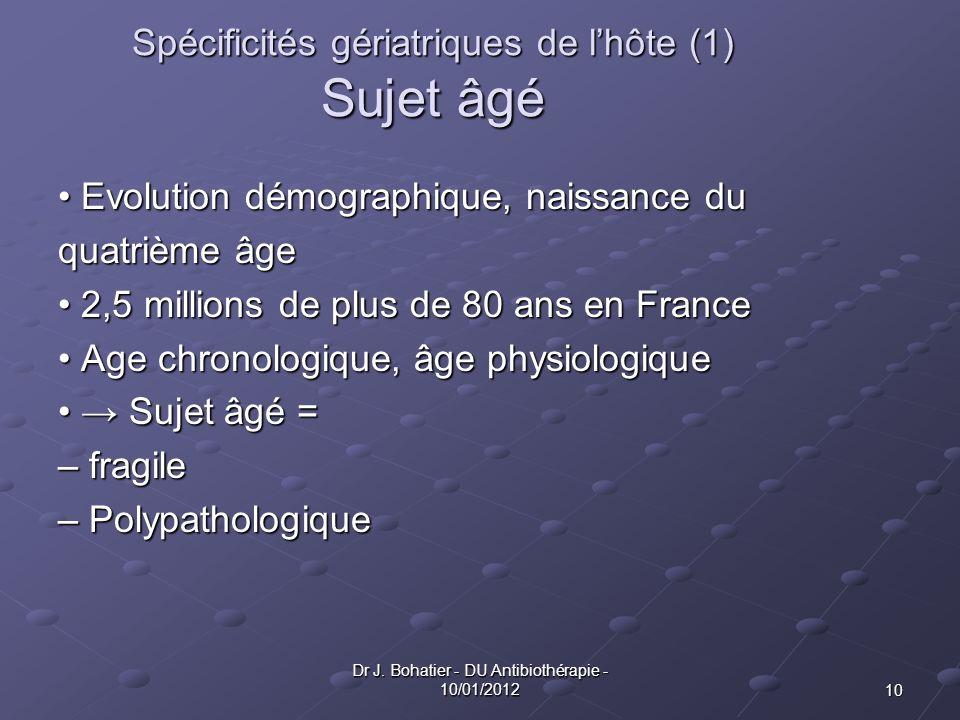 10 Dr J. Bohatier - DU Antibiothérapie - 10/01/2012 Spécificités gériatriques de lhôte (1) Sujet âgé Evolution démographique, naissance du Evolution d