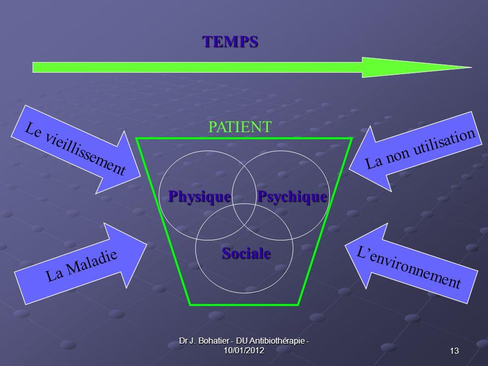 13 Dr J. Bohatier - DU Antibiothérapie - 10/01/2012 PhysiquePsychique Sociale Le vieillissement La Maladie La non utilisation Lenvironnement PATIENT T