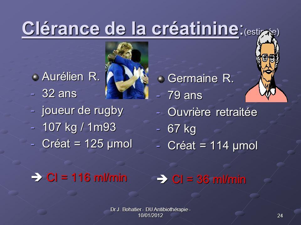 24 Dr J. Bohatier - DU Antibiothérapie - 10/01/2012 Clérance de la créatinine: (estimée) Aurélien R. -32 ans -joueur de rugby -107 kg / 1m93 -Créat =