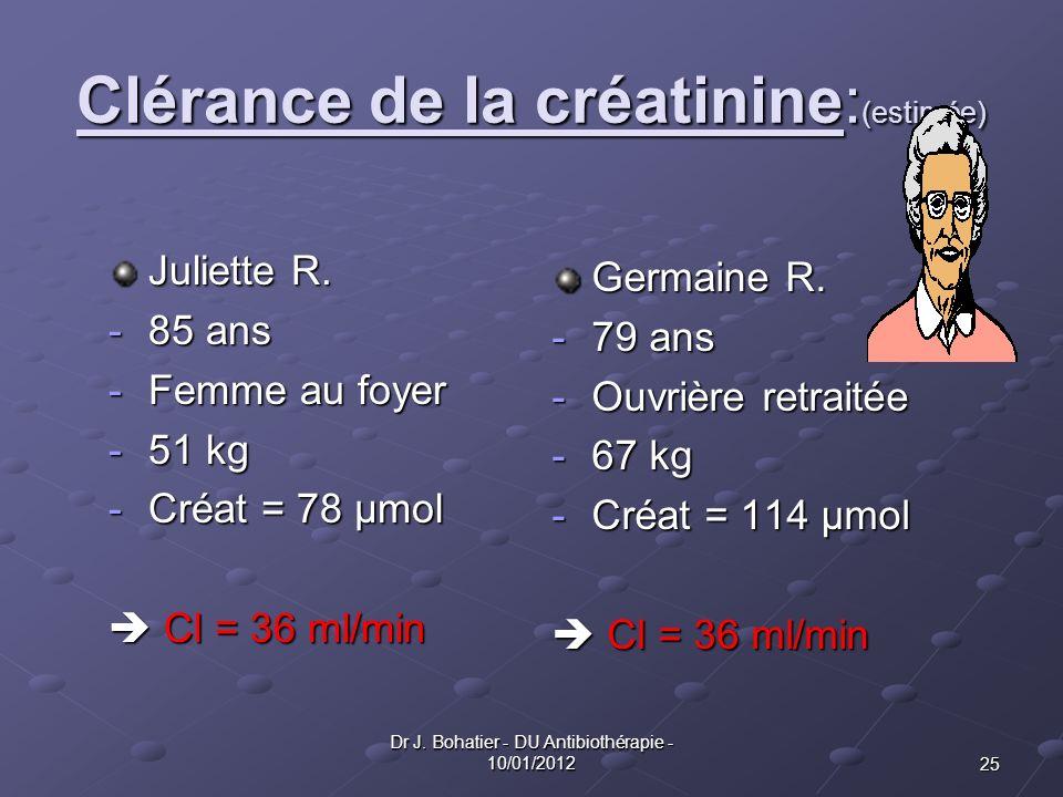 25 Dr J. Bohatier - DU Antibiothérapie - 10/01/2012 Clérance de la créatinine: (estimée) Juliette R. -85 ans -Femme au foyer -51 kg -Créat = 78 µmol C