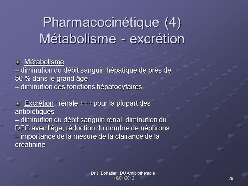 29 Dr J. Bohatier - DU Antibiothérapie - 10/01/2012 Pharmacocinétique (4) Métabolisme - excrétion Métabolisme – diminution du débit sanguin hépatique