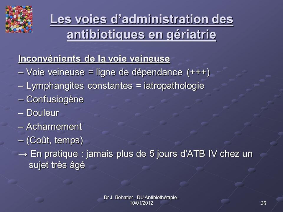 35 Dr J. Bohatier - DU Antibiothérapie - 10/01/2012 Les voies dadministration des antibiotiques en gériatrie Inconvénients de la voie veineuse – Voie
