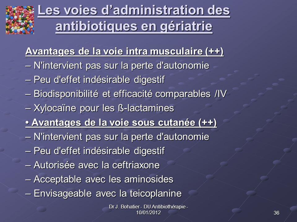 36 Dr J. Bohatier - DU Antibiothérapie - 10/01/2012 Les voies dadministration des antibiotiques en gériatrie Avantages de la voie intra musculaire (++