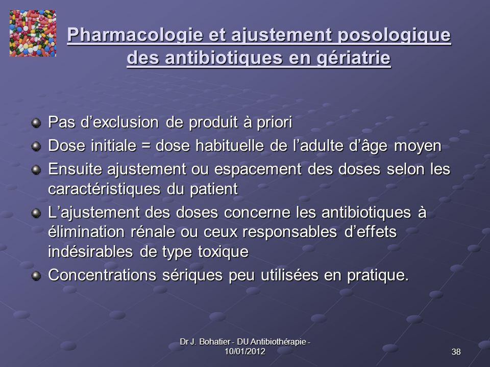 38 Dr J. Bohatier - DU Antibiothérapie - 10/01/2012 Pharmacologie et ajustement posologique des antibiotiques en gériatrie Pas dexclusion de produit à