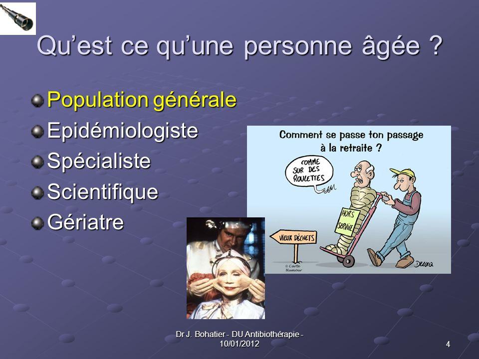 4 Dr J. Bohatier - DU Antibiothérapie - 10/01/2012 Quest ce quune personne âgée ? Population générale EpidémiologisteSpécialisteScientifiqueGériatre