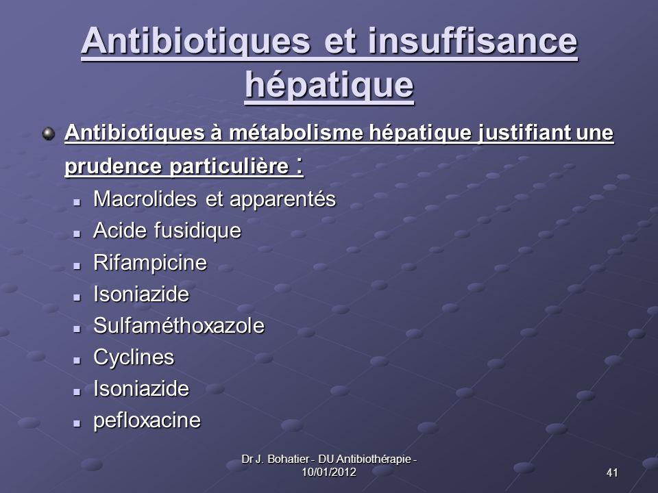 41 Dr J. Bohatier - DU Antibiothérapie - 10/01/2012 Antibiotiques et insuffisance hépatique Antibiotiques à métabolisme hépatique justifiant une prude