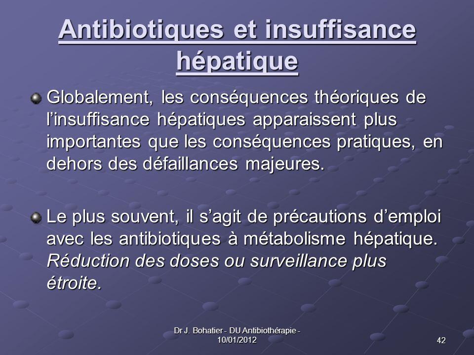 42 Dr J. Bohatier - DU Antibiothérapie - 10/01/2012 Antibiotiques et insuffisance hépatique Globalement, les conséquences théoriques de linsuffisance