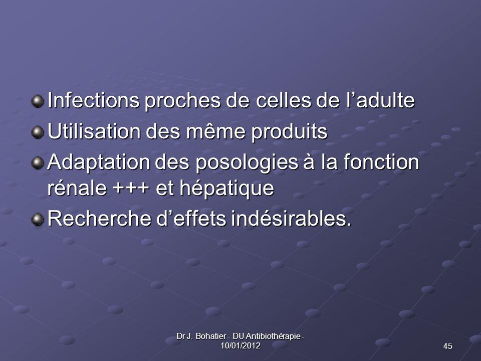 45 Dr J. Bohatier - DU Antibiothérapie - 10/01/2012 Infections proches de celles de ladulte Utilisation des même produits Adaptation des posologies à