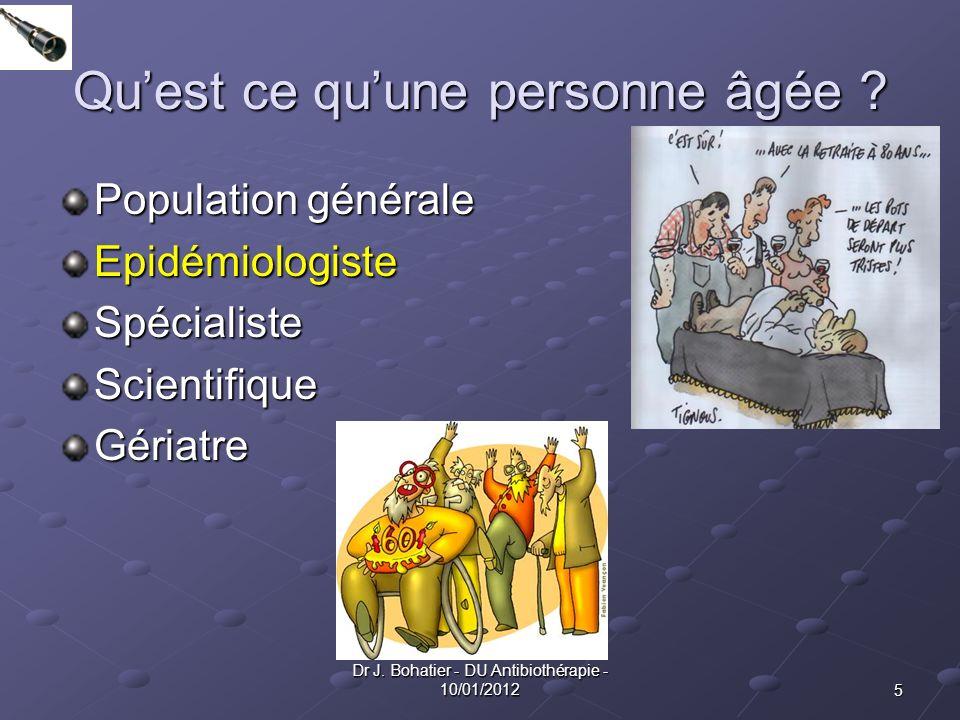 5 Dr J. Bohatier - DU Antibiothérapie - 10/01/2012 Quest ce quune personne âgée ? Population générale EpidémiologisteSpécialisteScientifiqueGériatre