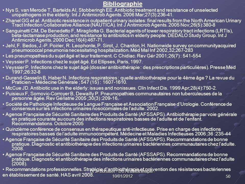 50 Dr J. Bohatier - DU Antibiothérapie - 10/01/2012 Bibliographie Nys S, van Merode T, Bartelds AI, Stobberingh EE. Antibiotic treatment and resistanc