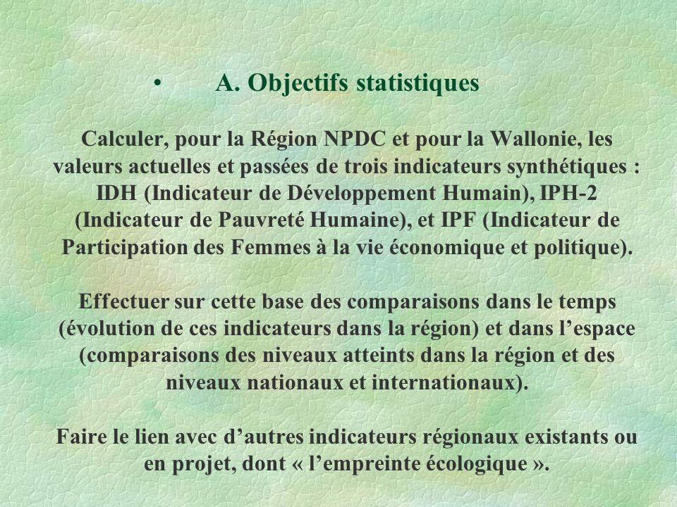 A. Objectifs statistiques Calculer, pour la Région NPDC et pour la Wallonie, les valeurs actuelles et passées de trois indicateurs synthétiques : IDH