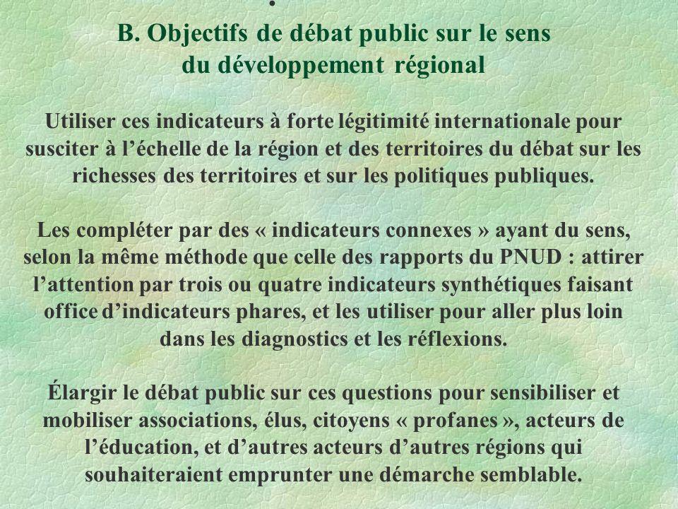 B. Objectifs de débat public sur le sens du développement régional Utiliser ces indicateurs à forte légitimité internationale pour susciter à léchelle