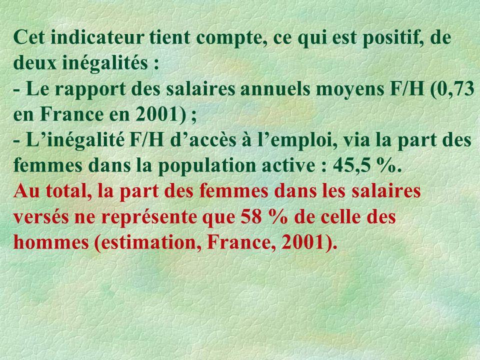 Cet indicateur tient compte, ce qui est positif, de deux inégalités : - Le rapport des salaires annuels moyens F/H (0,73 en France en 2001) ; - Linégalité F/H daccès à lemploi, via la part des femmes dans la population active : 45,5 %.
