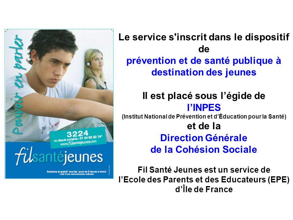 Le service s'inscrit dans le dispositif de prévention et de santé publique à destination des jeunes Il est placé sous légide de lINPES (Institut Natio