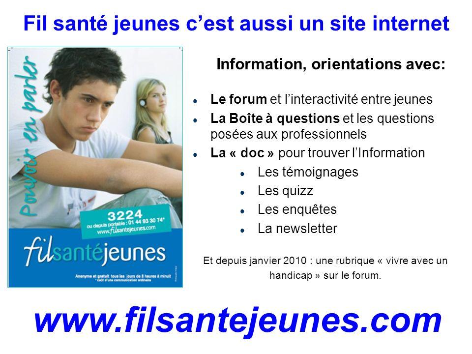 Fil santé jeunes cest aussi un site internet www.filsantejeunes.com Information, orientations avec: Le forum et linteractivité entre jeunes La Boîte à