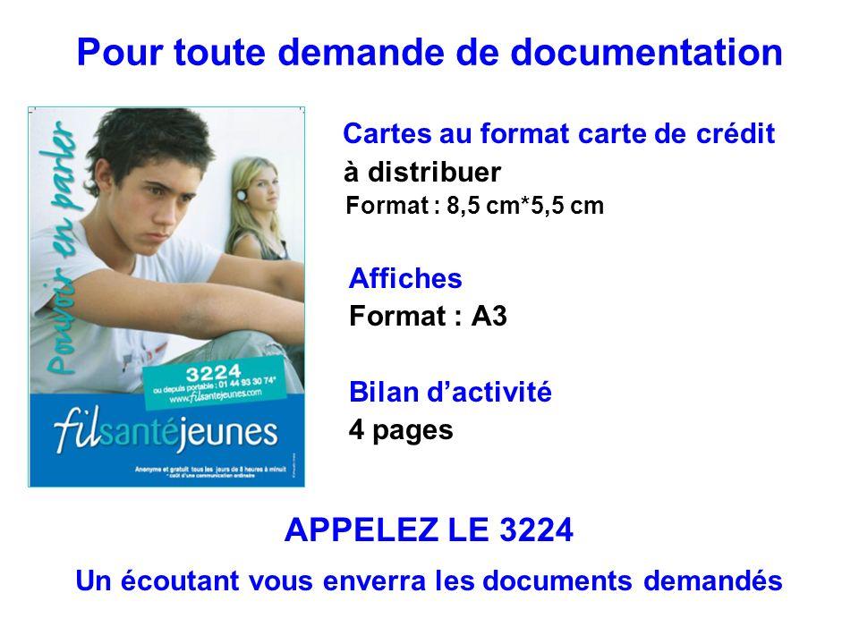 Cartes au format carte de crédit à distribuer Format : 8,5 cm*5,5 cm Affiches Format : A3 Bilan dactivité 4 pages Pour toute demande de documentation