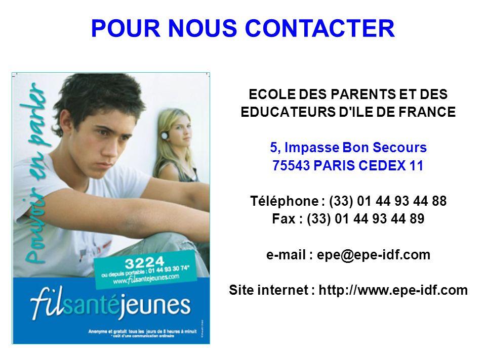 ECOLE DES PARENTS ET DES EDUCATEURS D'ILE DE FRANCE 5, Impasse Bon Secours 75543 PARIS CEDEX 11 Téléphone : (33) 01 44 93 44 88 Fax : (33) 01 44 93 44