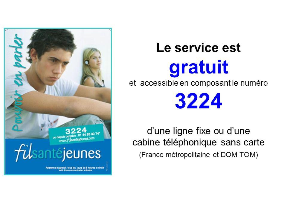 Le service est gratuit et accessible en composant le numéro 3224 dune ligne fixe ou dune cabine téléphonique sans carte (France métropolitaine et DOM