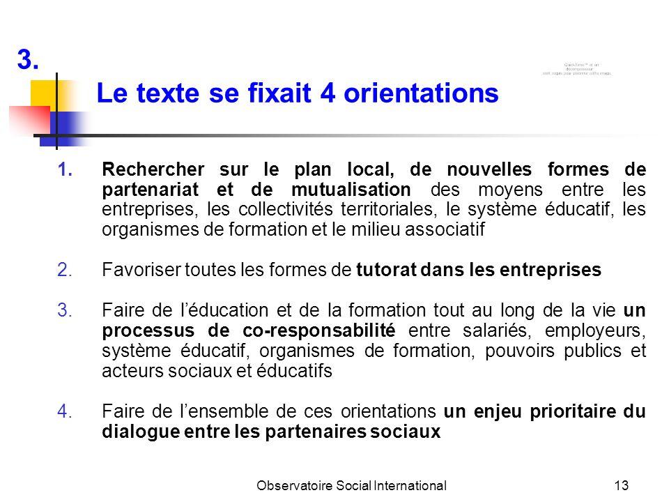 Observatoire Social International13 1.Rechercher sur le plan local, de nouvelles formes de partenariat et de mutualisation des moyens entre les entrep