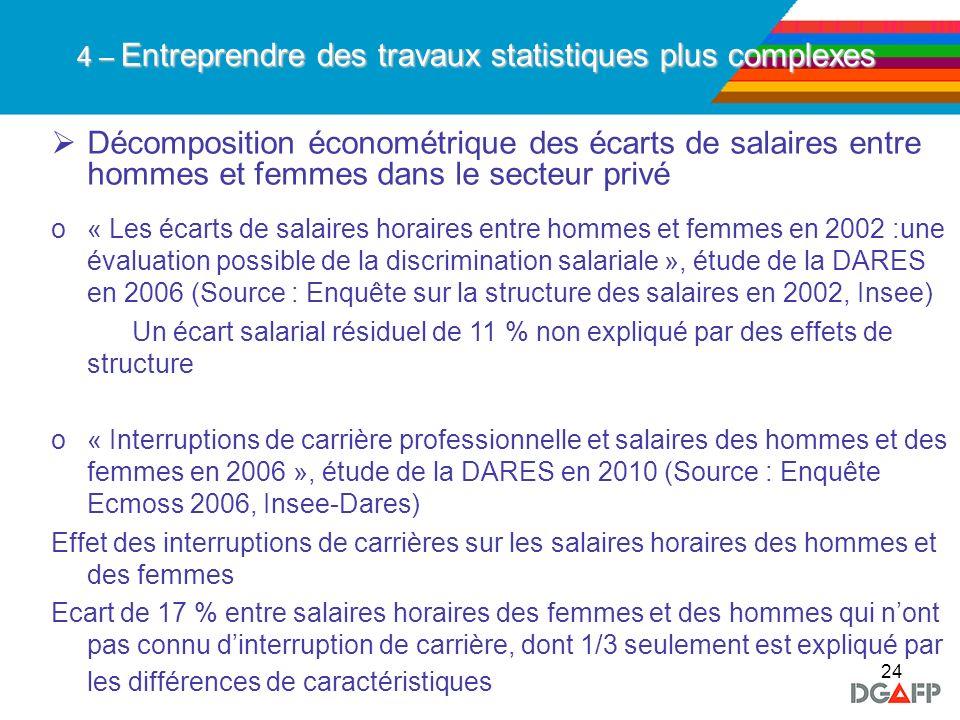 24 Décomposition économétrique des écarts de salaires entre hommes et femmes dans le secteur privé o« Les écarts de salaires horaires entre hommes et