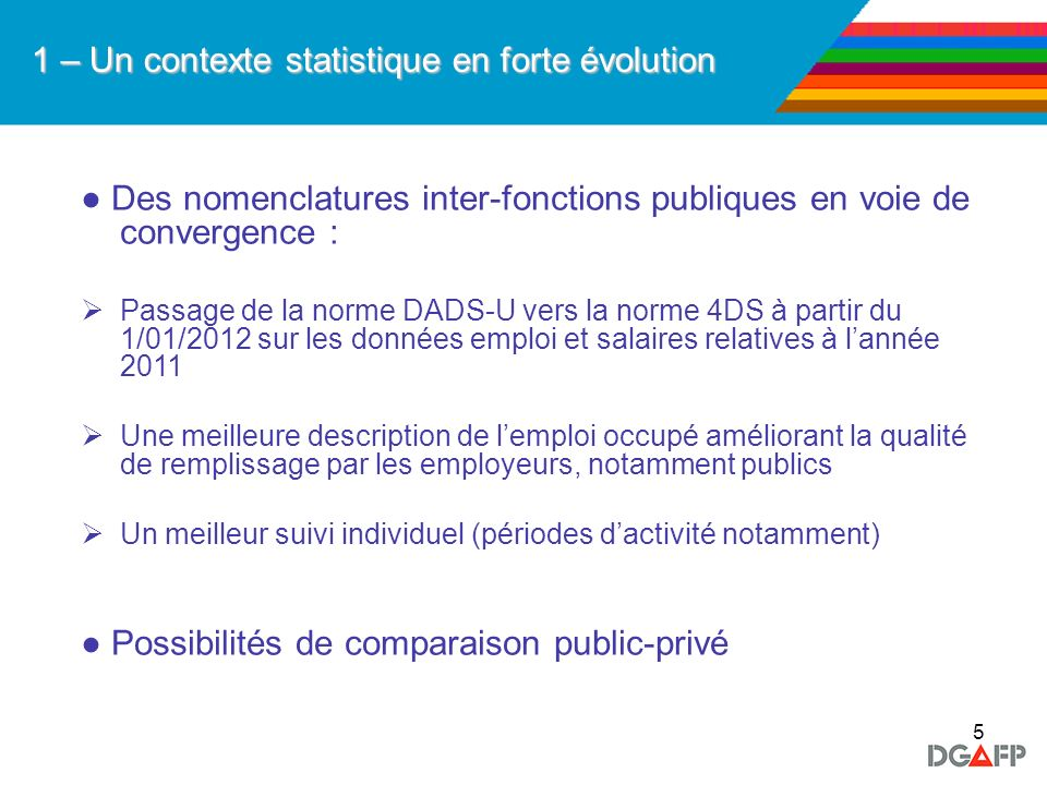 5 1 – Un contexte statistique en forte évolution Des nomenclatures inter-fonctions publiques en voie de convergence : Passage de la norme DADS-U vers
