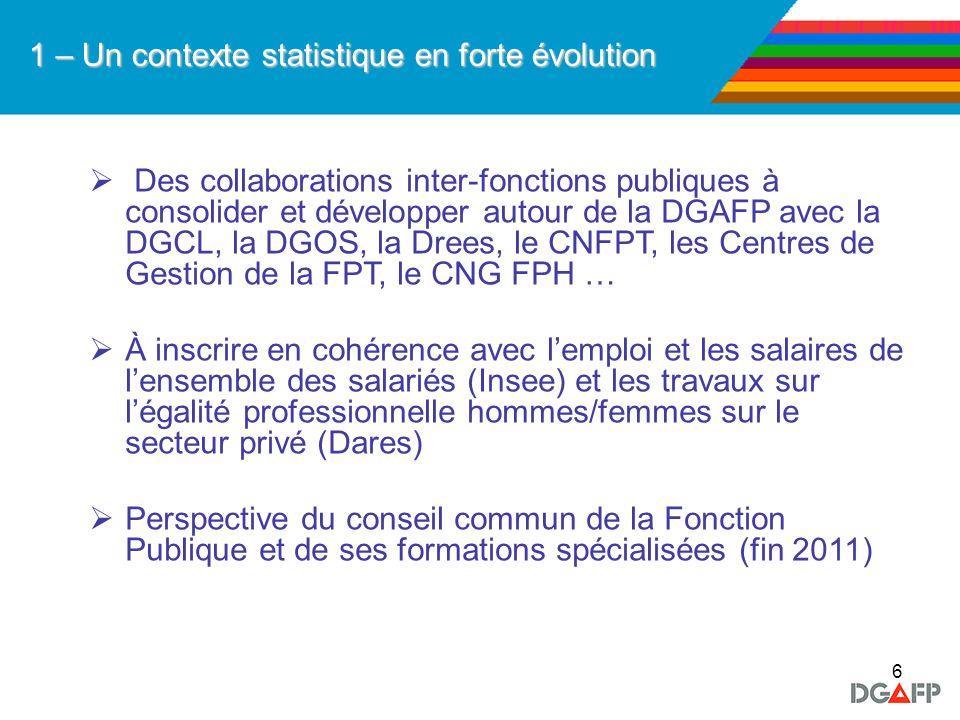 6 1 – Un contexte statistique en forte évolution Des collaborations inter-fonctions publiques à consolider et développer autour de la DGAFP avec la DG