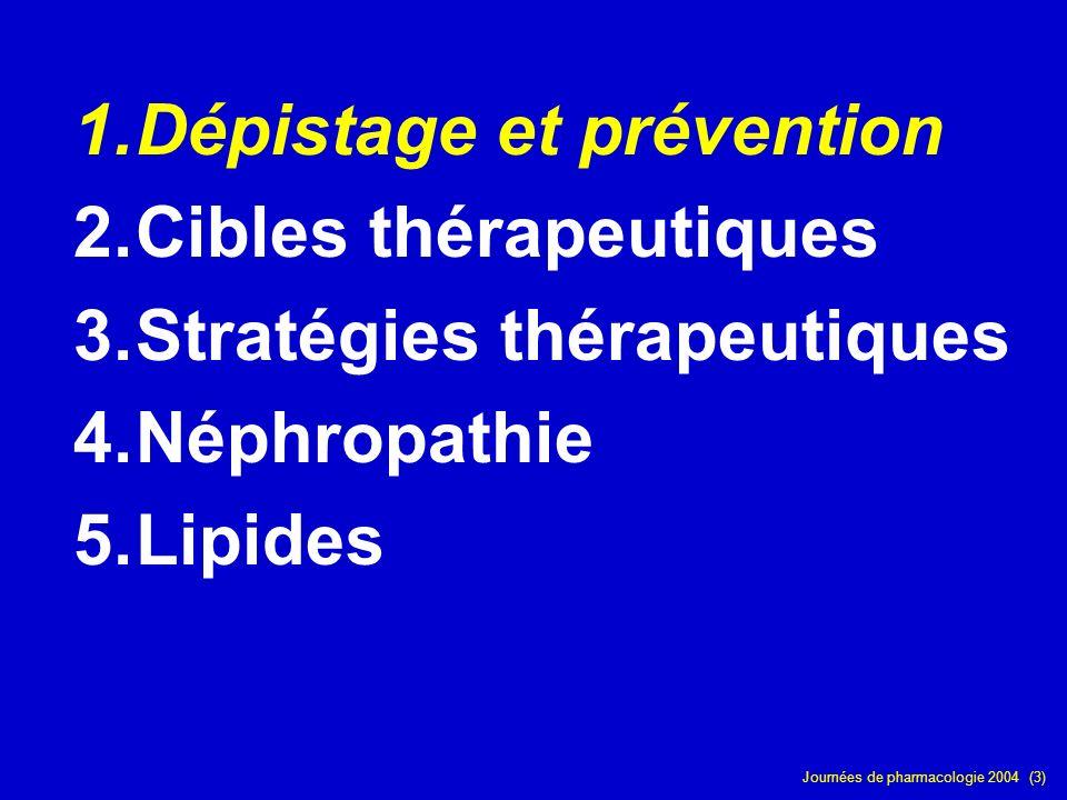 Journées de pharmacologie 2004 (3) 1.Dépistage et prévention 2.Cibles thérapeutiques 3.Stratégies thérapeutiques 4.Néphropathie 5.Lipides