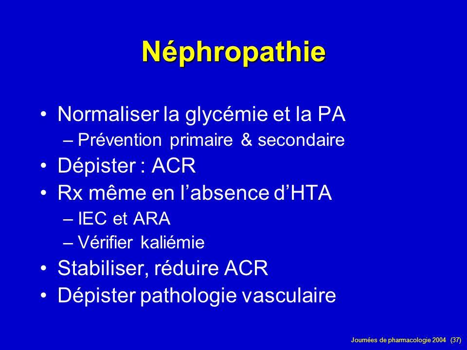 Journées de pharmacologie 2004 (37) Néphropathie Normaliser la glycémie et la PA –Prévention primaire & secondaire Dépister : ACR Rx même en labsence
