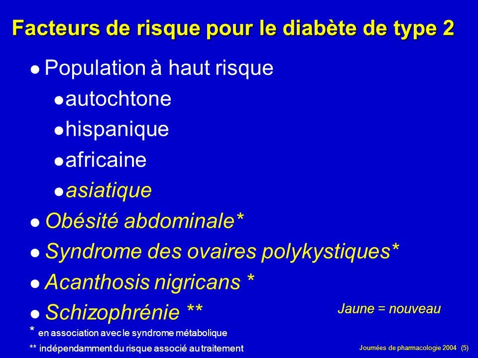 Journées de pharmacologie 2004 (5) Facteurs de risque pour le diabète de type 2. Population à haut risque autochtone hispanique africaine asiatique Ob