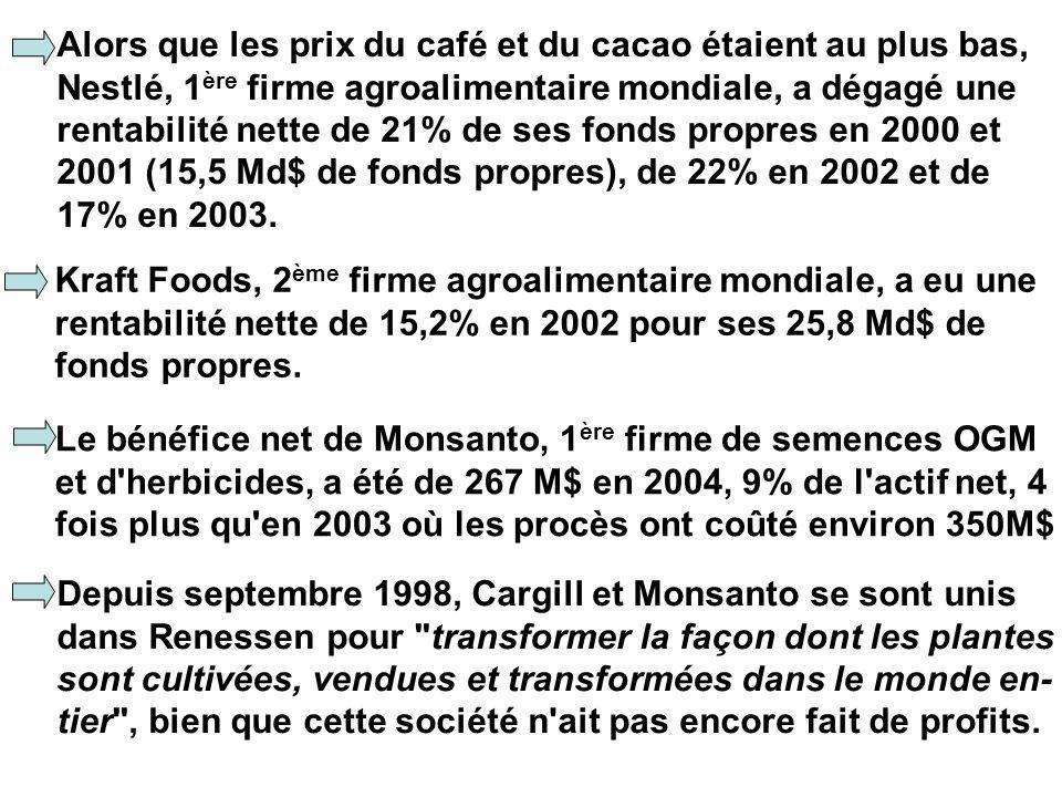 Alors que les prix du café et du cacao étaient au plus bas, Nestlé, 1 ère firme agroalimentaire mondiale, a dégagé une rentabilité nette de 21% de ses fonds propres en 2000 et 2001 (15,5 Md$ de fonds propres), de 22% en 2002 et de 17% en 2003.