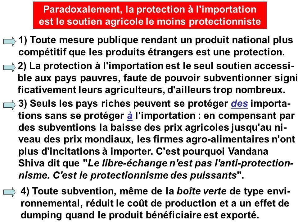Paradoxalement, la protection à l importation est le soutien agricole le moins protectionniste 1) Toute mesure publique rendant un produit national plus compétitif que les produits étrangers est une protection.