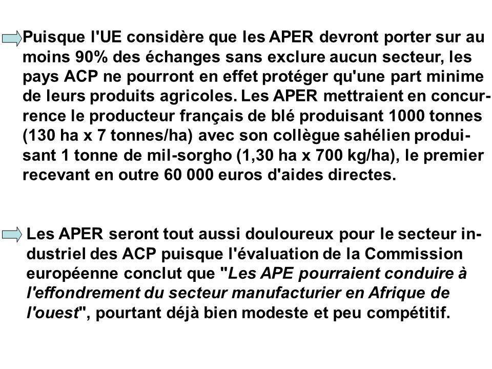 Puisque l UE considère que les APER devront porter sur au moins 90% des échanges sans exclure aucun secteur, les pays ACP ne pourront en effet protéger qu une part minime de leurs produits agricoles.
