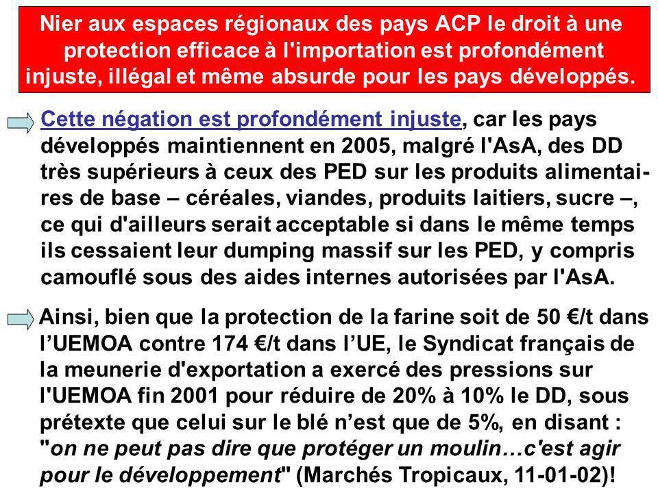 Nier aux espaces régionaux des pays ACP le droit à une protection efficace à l importation est profondément injuste, illégal et même absurde pour les pays développés.