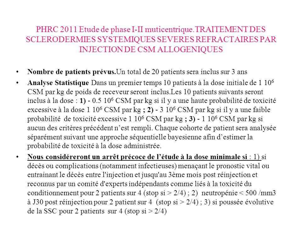 PHRC 2011 Etude de phase I-II muticentrique.TRAITEMENT DES SCLERODERMIES SYSTEMIQUES SEVERES REFRACTAIRES PAR INJECTION DE CSM ALLOGENIQUES Nombre de