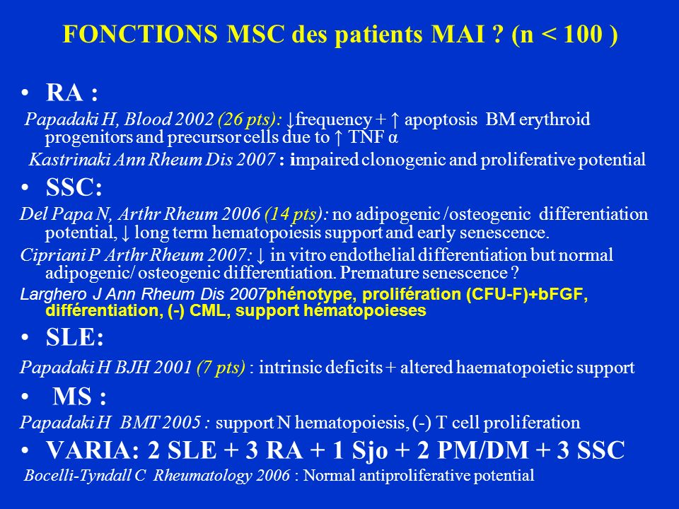 FONCTIONS MSC des patients MAI ? (n < 100 ) RA : Papadaki H, Blood 2002 (26 pts): frequency + apoptosis BM erythroid progenitors and precursor cells d