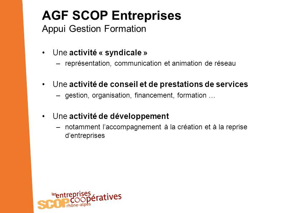 AGF SCOP Entreprises Appui Gestion Formation Une activité « syndicale » –représentation, communication et animation de réseau Une activité de conseil et de prestations de services –gestion, organisation, financement, formation … Une activité de développement –notamment laccompagnement à la création et à la reprise dentreprises