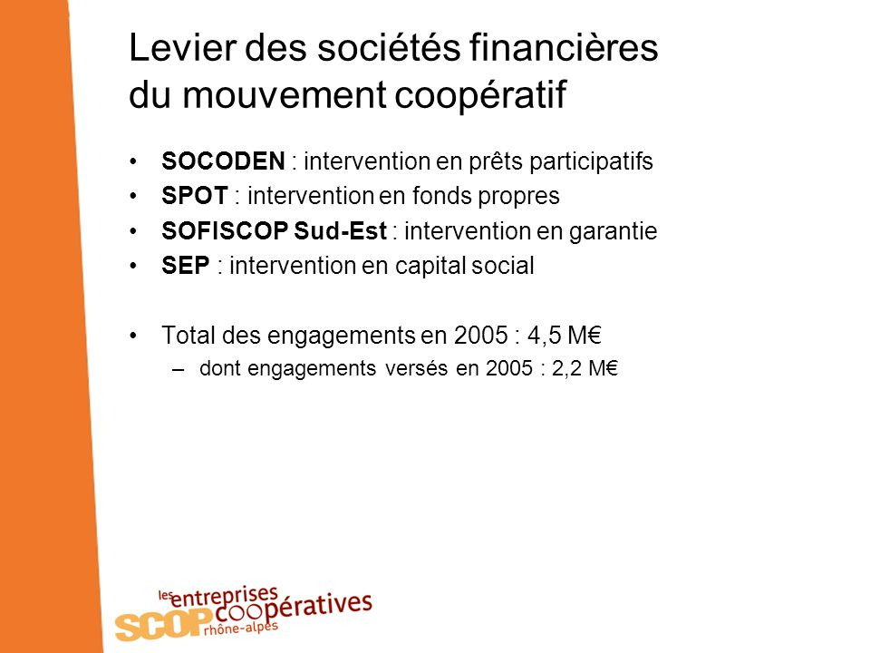 Levier des sociétés financières du mouvement coopératif SOCODEN : intervention en prêts participatifs SPOT : intervention en fonds propres SOFISCOP Sud-Est : intervention en garantie SEP : intervention en capital social Total des engagements en 2005 : 4,5 M –dont engagements versés en 2005 : 2,2 M