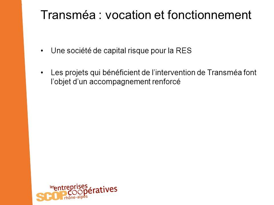 Transméa : vocation et fonctionnement Une société de capital risque pour la RES Les projets qui bénéficient de lintervention de Transméa font lobjet dun accompagnement renforcé