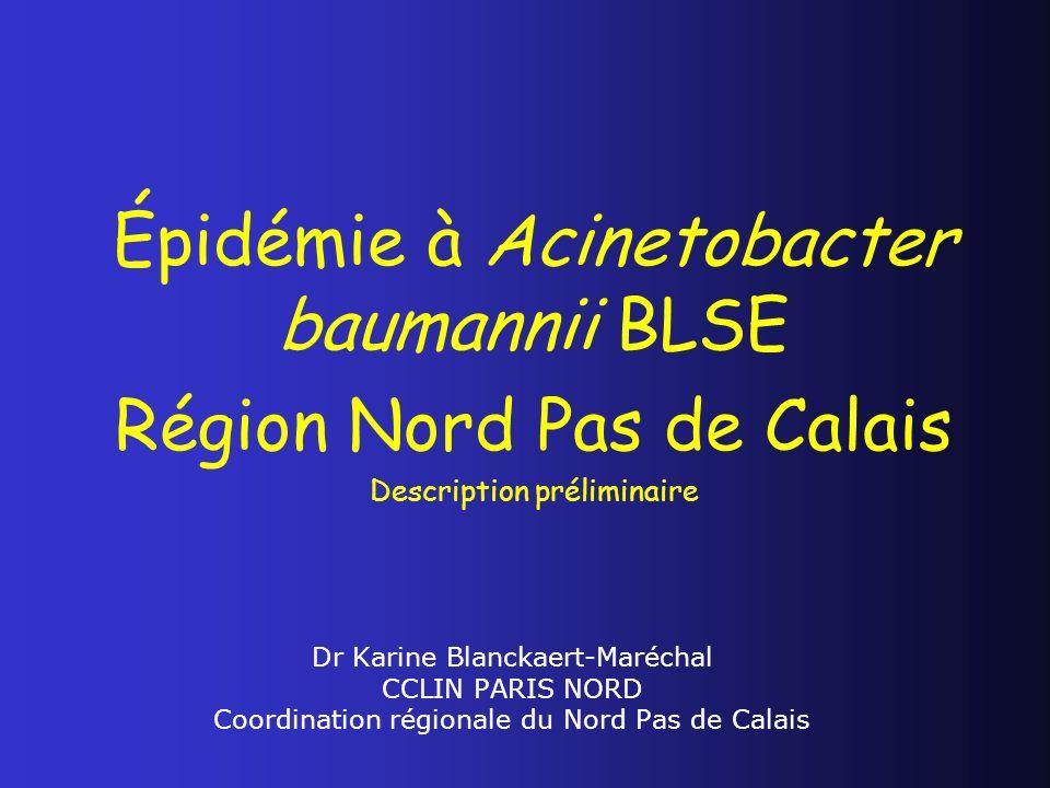 Dr Karine Blanckaert-Maréchal CCLIN PARIS NORD Coordination régionale du Nord Pas de Calais Épidémie à Acinetobacter baumannii BLSE Région Nord Pas de